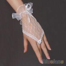 Перчатки ажурные свадебные для невесты белые