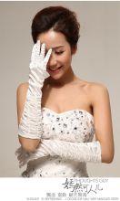 Перчатки белые атласные свадебные до локтя