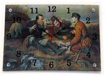 """Часы настенные  Стеклянные 30х40 """"Охотники на привале"""""""