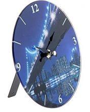 Часы настенные круг с подставкой Мост ночной d=17см