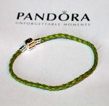 Кожаный браслет PANDORA Салатовый