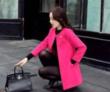 Тонкое женское пальто тренч без пуговиц Розовый