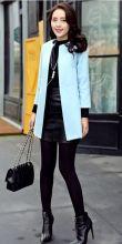 Тонкое женское пальто тренч без пуговиц Голубое