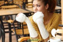 Шерстяные рукава перчатки с мехом Белые